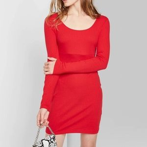 Red ribbed Long sleeve dress NWT size M
